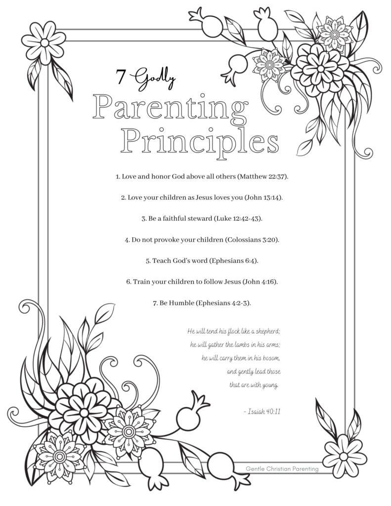 Parenting Principles Printable Coloring Page