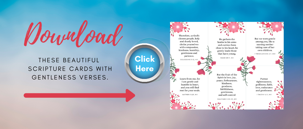 mockup of downloadable bible verses on cards with a click here button to download Gentle Christian Parenting verses