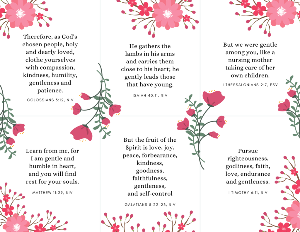 bible verse cards on gentleness