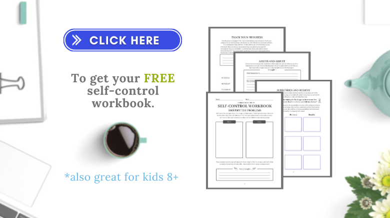 mock up of self-control workbook with a button that says click here
