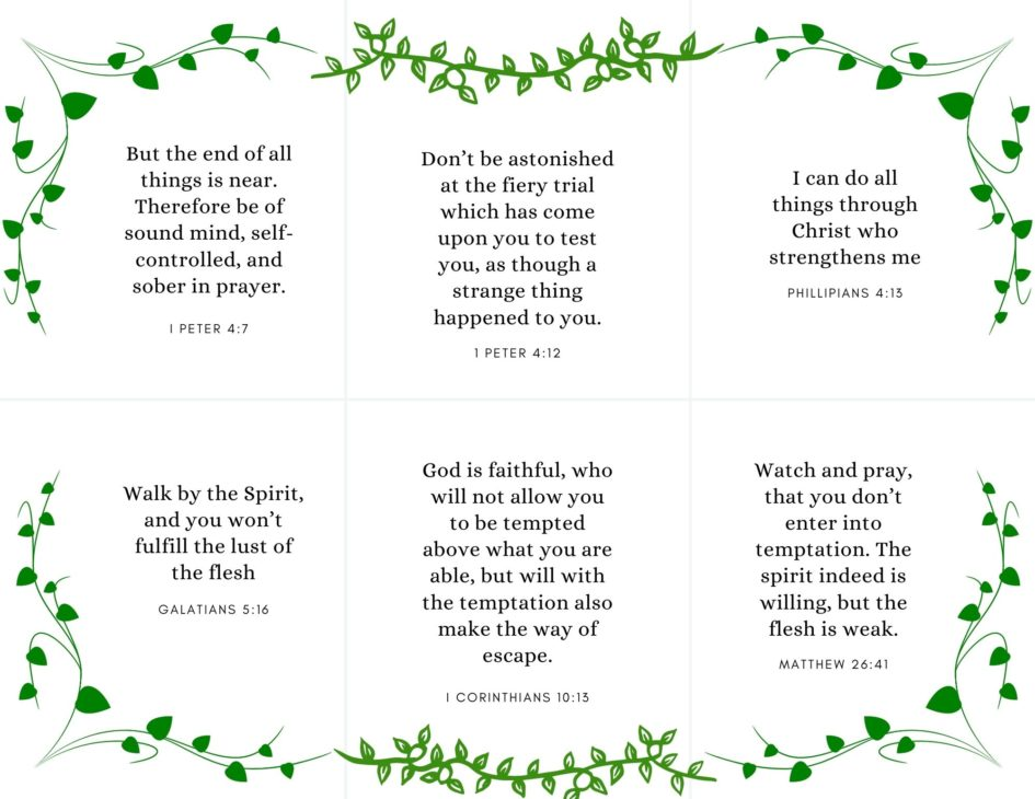 bible verse cards on self control